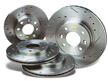 Drilled and grooved racing sports brake discs for the rally, circuits and fast road use OMP Sport