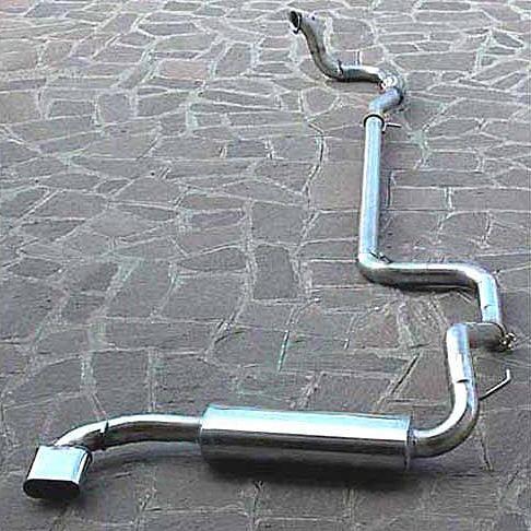 Kompletní výfuk Lancia Delta HF Integrale 8v/16v/Evoluzione, nerezová ocel, zadní tlumič Scara 73